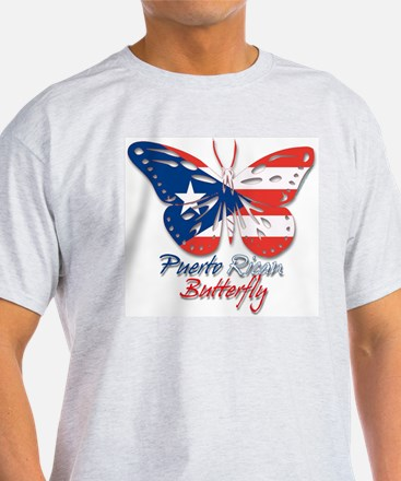 Puerto Rican Butterfly Ash Grey T-Shirt