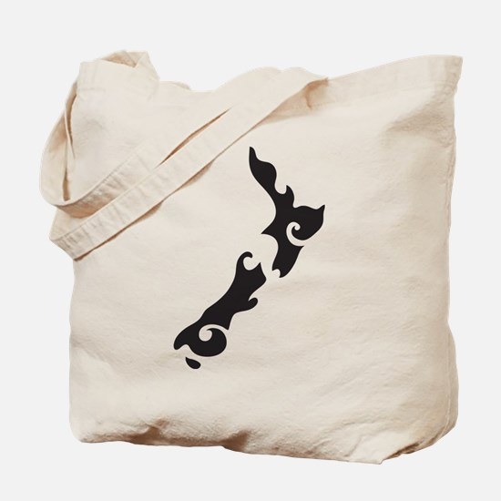 NZ New Zealand map tattoo style Tote Bag