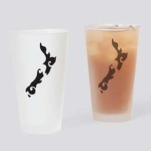 NZ New Zealand map tattoo style Drinking Glass