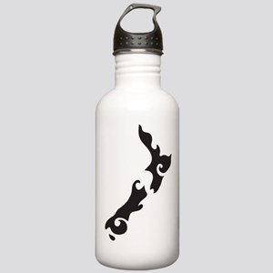NZ New Zealand map tattoo style Water Bottle