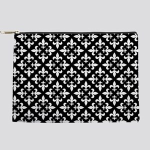Black and White Fleur de Lis Pattern Makeup Pouch