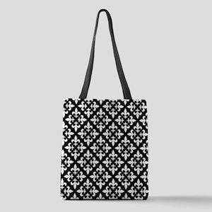 Black and White Fleur de Lis Pattern Polyester Tot