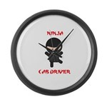 Ninja Cab Driver Large Wall Clock