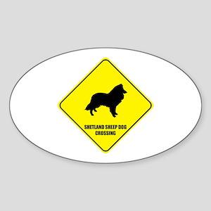 Shetland Crossing Oval Sticker