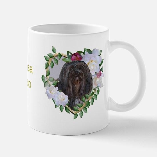 Lhasa Apso Black Valentine Heart Mug