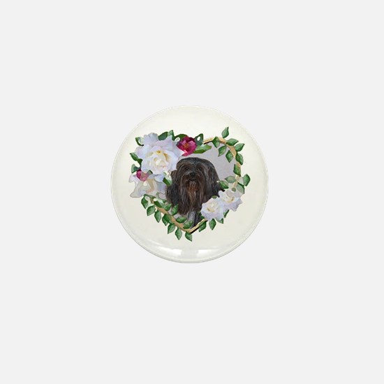 Lhasa Apso Black Valentine Heart Mini Button