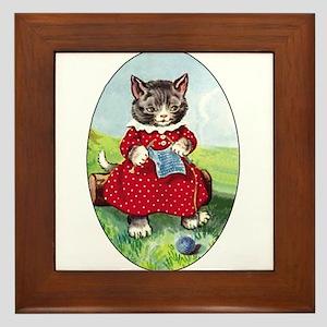 Knittting Kitty Framed Tile