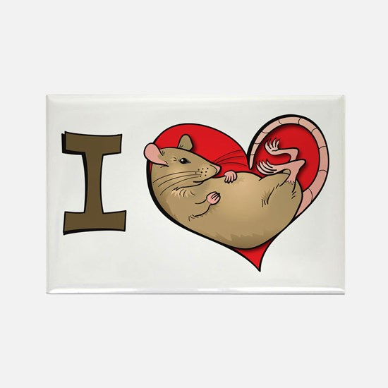 I heart rats (tan) Rectangle Magnet