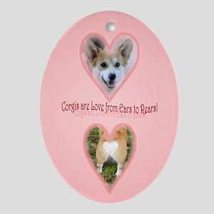 Welsh Corgi Valentine Oval Ornament