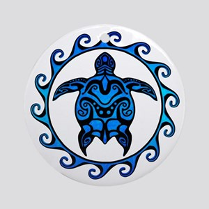 Maori Tribal Blue Turtle Ornament (Round)