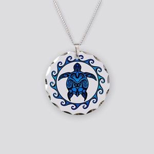 Maori Tribal Blue Turtle Necklace