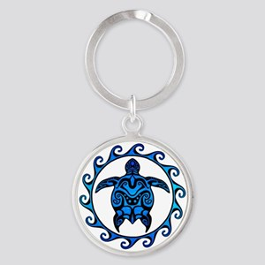 Maori Tribal Blue Turtle Keychains