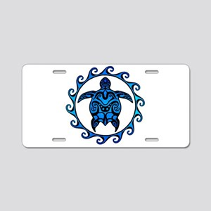Maori Tribal Blue Turtle Aluminum License Plate