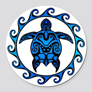 Maori Tribal Blue Turtle Round Car Magnet