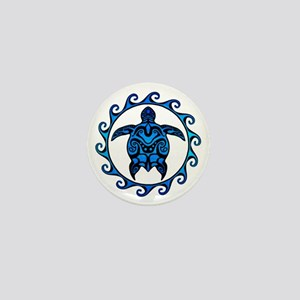 Maori Tribal Blue Turtle Mini Button