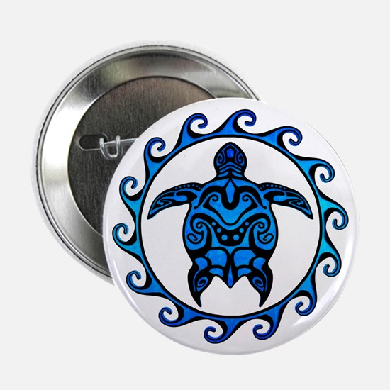 "Maori Tribal Blue Turtle 2.25"" Button (10 pac"
