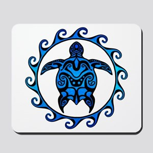 Maori Tribal Blue Turtle Mousepad