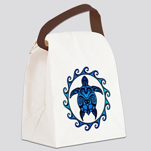 Maori Tribal Blue Turtle Canvas Lunch Bag