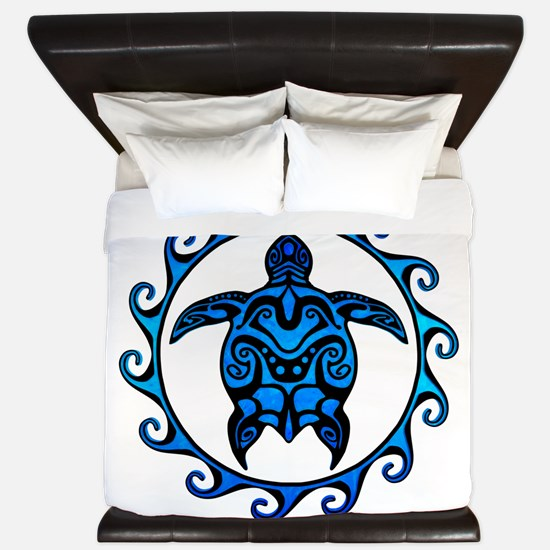 Maori Tribal Blue Turtle King Duvet