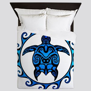 Maori Tribal Blue Turtle Queen Duvet
