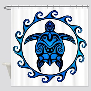 Maori Tribal Blue Turtle Shower Curtain