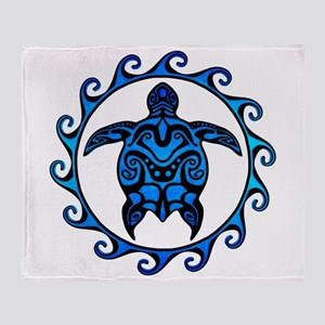 Maori Tribal Blue Turtle Throw Blanket