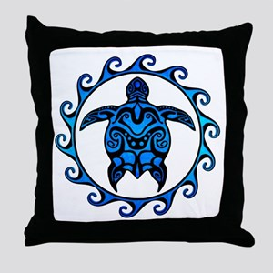 Maori Tribal Blue Turtle Throw Pillow
