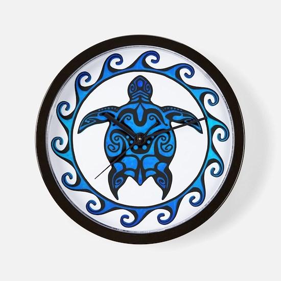 Maori Tribal Blue Turtle Wall Clock