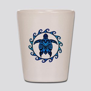 Maori Tribal Blue Turtle Shot Glass