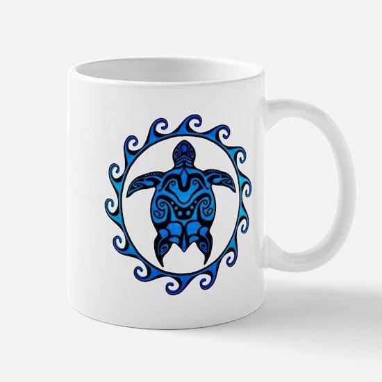 Maori Tribal Blue Turtle Mugs