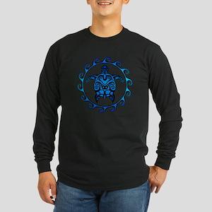 Maori Tribal Blue Turtle Long Sleeve T-Shirt