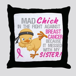 Mad Chick 3L Breast Cancer Throw Pillow