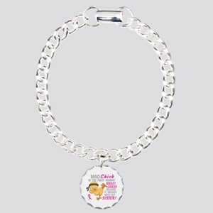 Mad Chick 3L Breast Cancer Charm Bracelet, One Cha