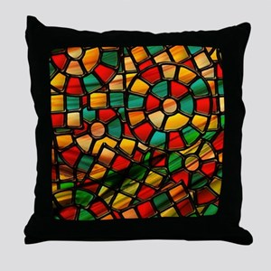 colorful stained glass Throw Pillow