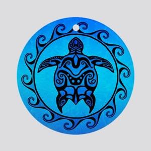 Maori Ocean Blue Turtle Ornament (Round)