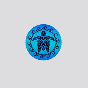 Maori Ocean Blue Turtle Mini Button