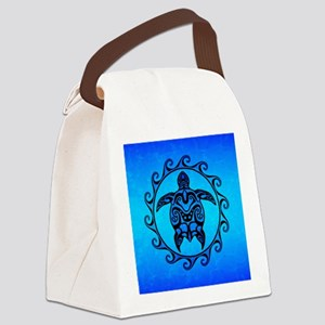 Maori Ocean Blue Turtle Canvas Lunch Bag