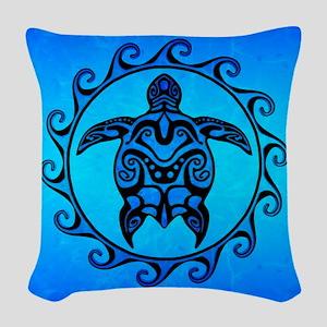 Maori Ocean Blue Turtle Woven Throw Pillow