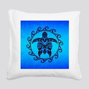 Maori Ocean Blue Turtle Square Canvas Pillow