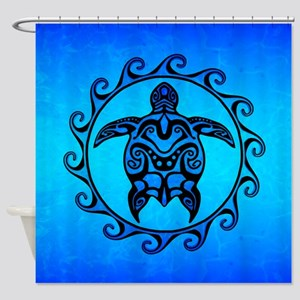 Maori Ocean Blue Turtle Shower Curtain