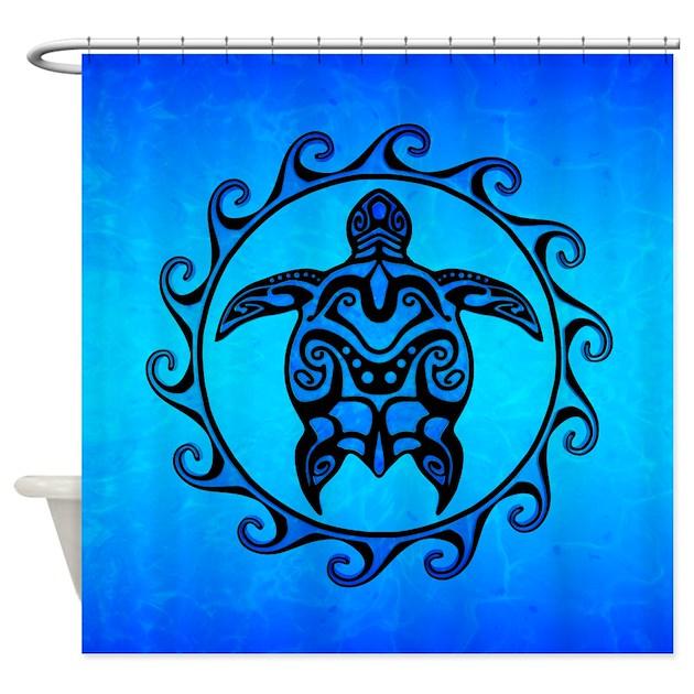 Maori Ocean Blue Turtle Shower Curtain By BailoutIsland