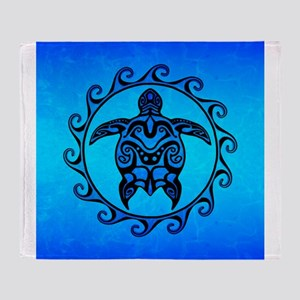 Maori Ocean Blue Turtle Throw Blanket