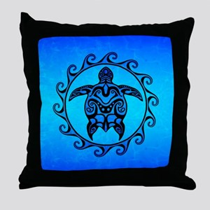 Maori Ocean Blue Turtle Throw Pillow