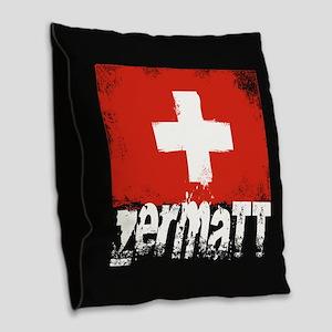 Zermatt Grunge Flag Burlap Throw Pillow