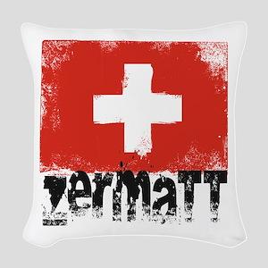 Zermatt Grunge Flag Woven Throw Pillow
