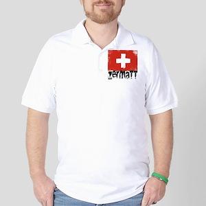 Zermatt Grunge Flag Golf Shirt