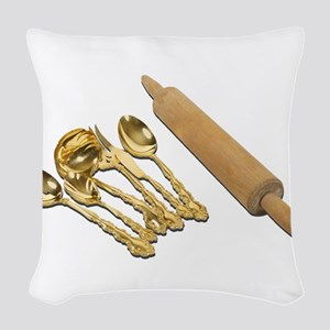 GoldwareRollingPin061111 Woven Throw Pillow