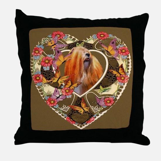Lhasa Apso Valentine Vintage Red Throw Pillow