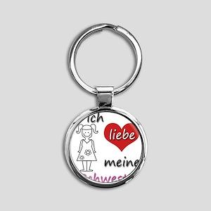 Ich liebe meine Schwester in German Round Keychain