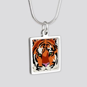 Tiger (Face) Silver Square Necklace